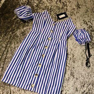 Blue Stripe Print Button Up Puff Sleeve Dress